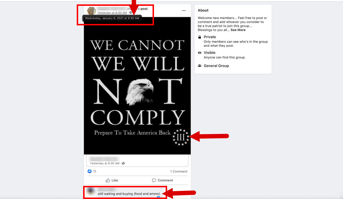 "Screenshot from a Facebook group showing a Three Percenter meme that reads, ""We Cannot, We Will Not Comply, Prepare To Take America Back"""