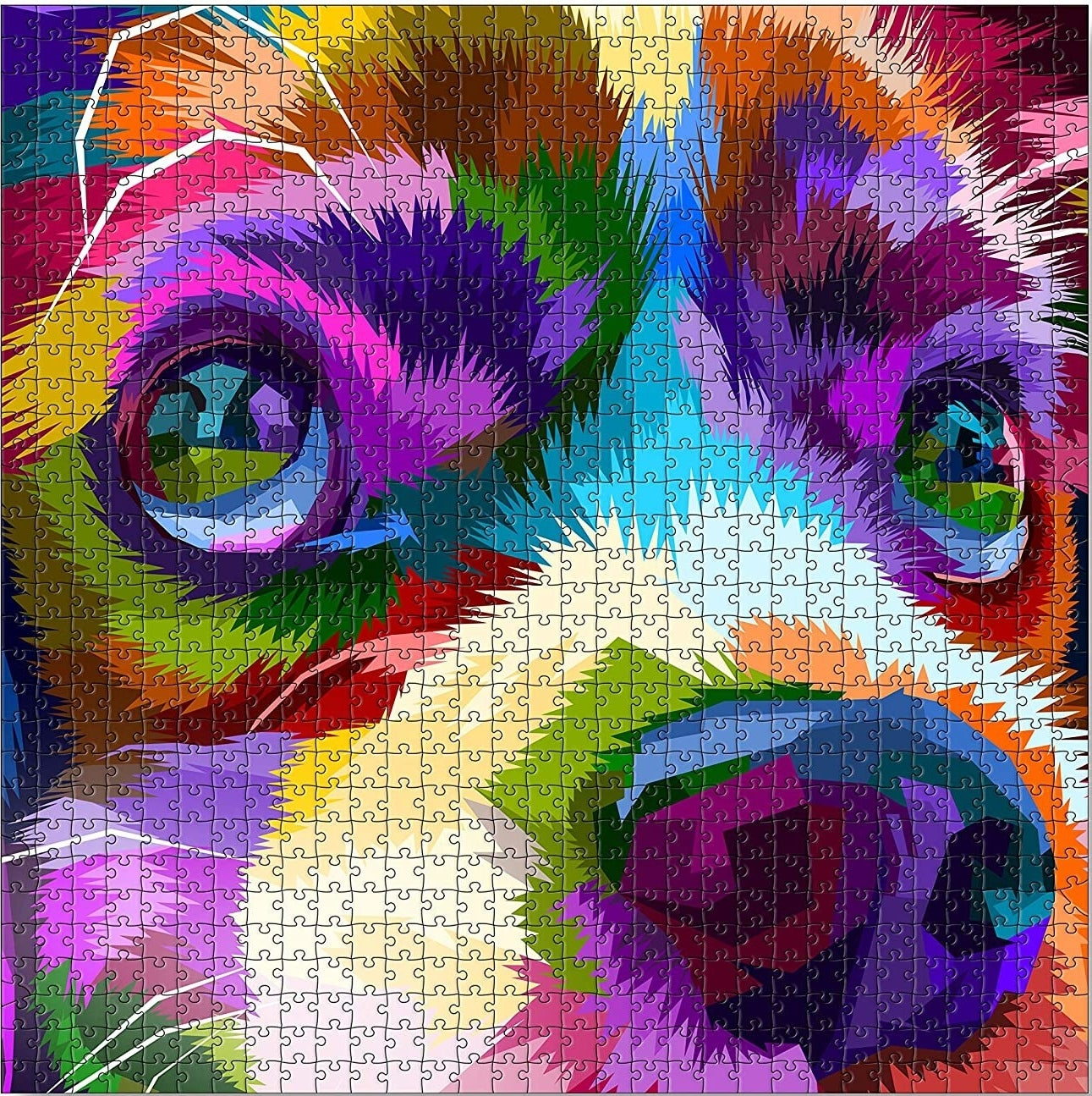 The 1,000 piece puzzle of an illustrated dog's face