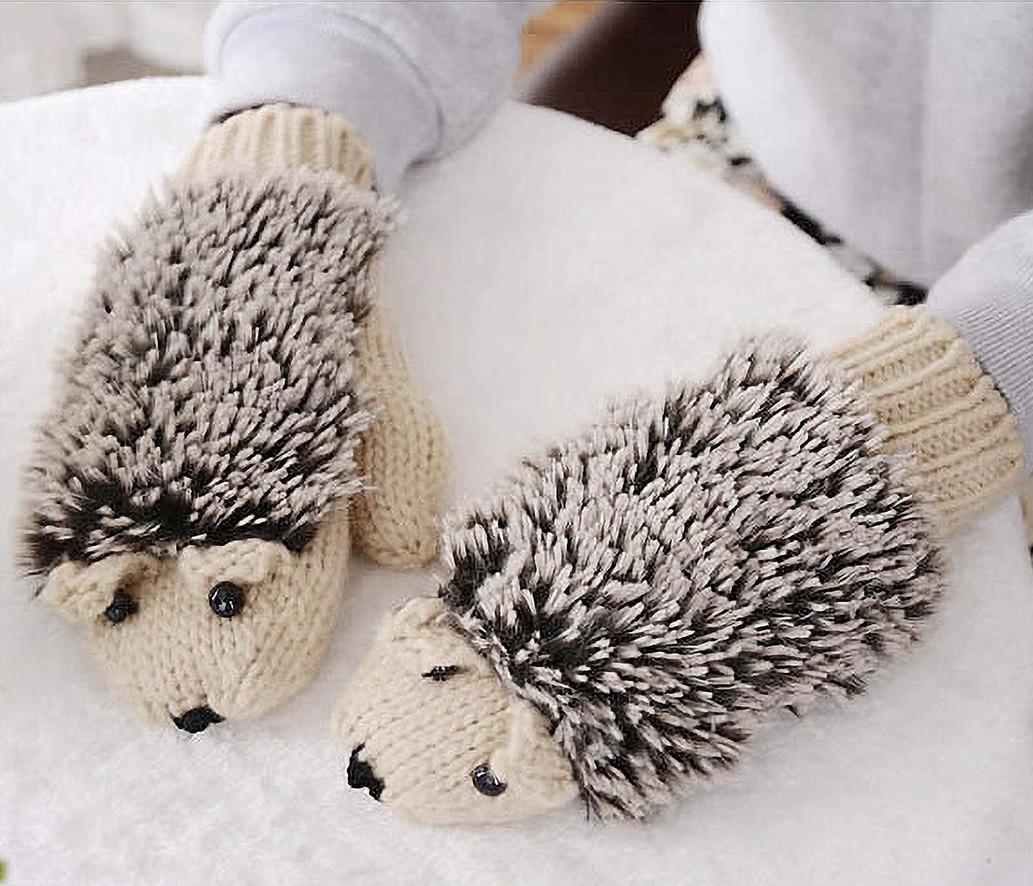 mittens with ears, eyes, snouts, and shaggy backs