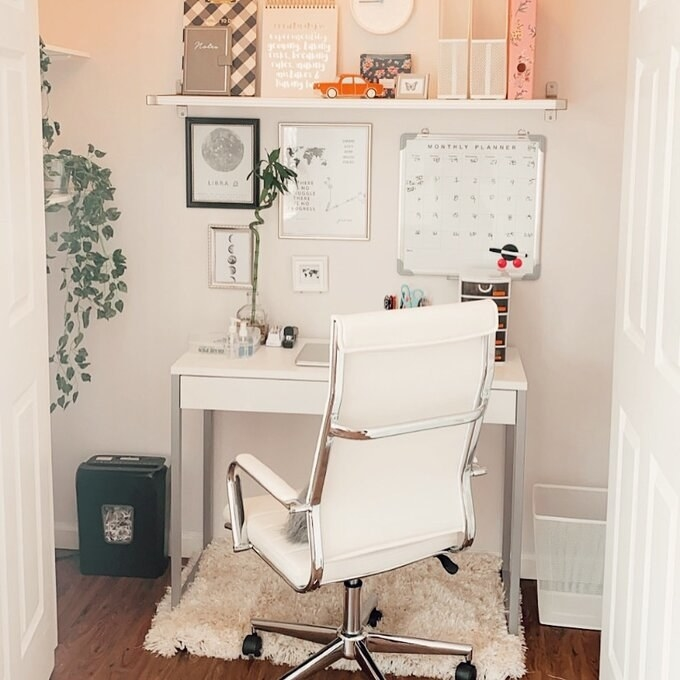 Reviewer's picture of the white desk