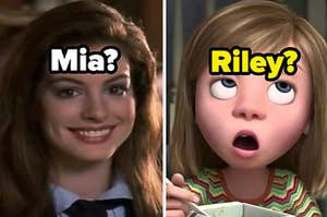 "Anne Hathaway is smiling on the left labeled, ""Mia?"" with ""Riley?"" from ""Inside Out"" making a funny face"