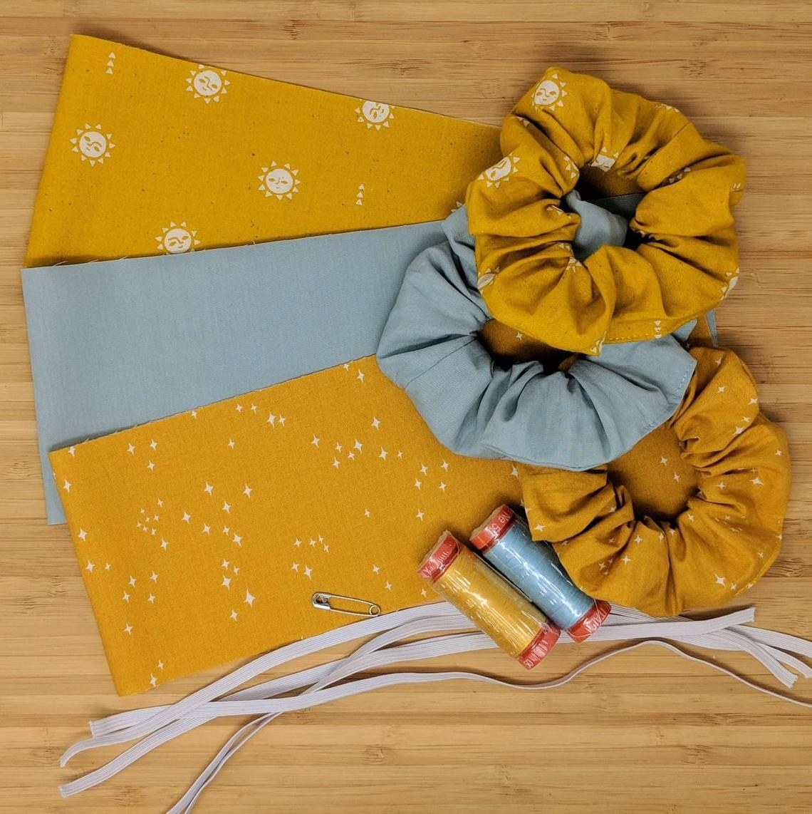The scrunchie kit with  three finished scrunchies