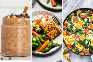 Overnight oats, salmon and veggies, and a veggie frittata.
