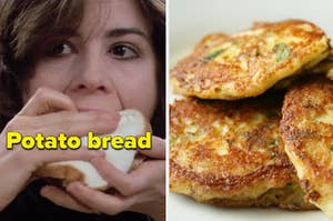 """A woman is on the left eating a sandwich labeled, """"Potato bread"""" with potato pancakes on the right"""
