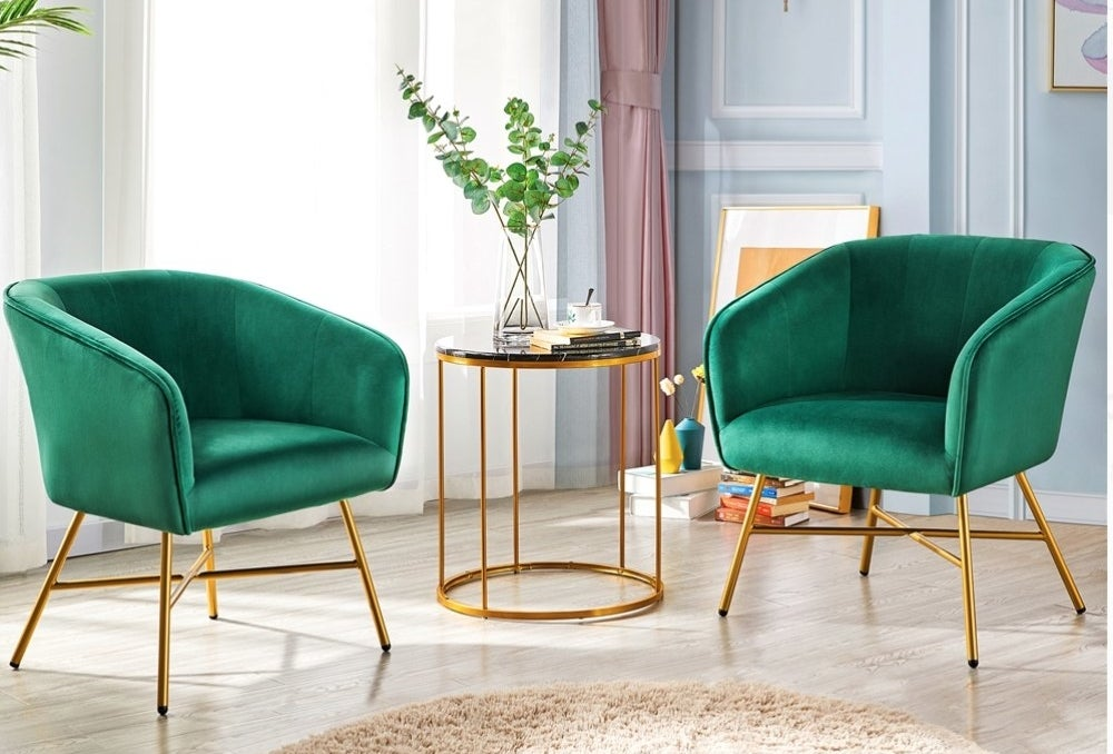 Green velvet accent chair with gold legs
