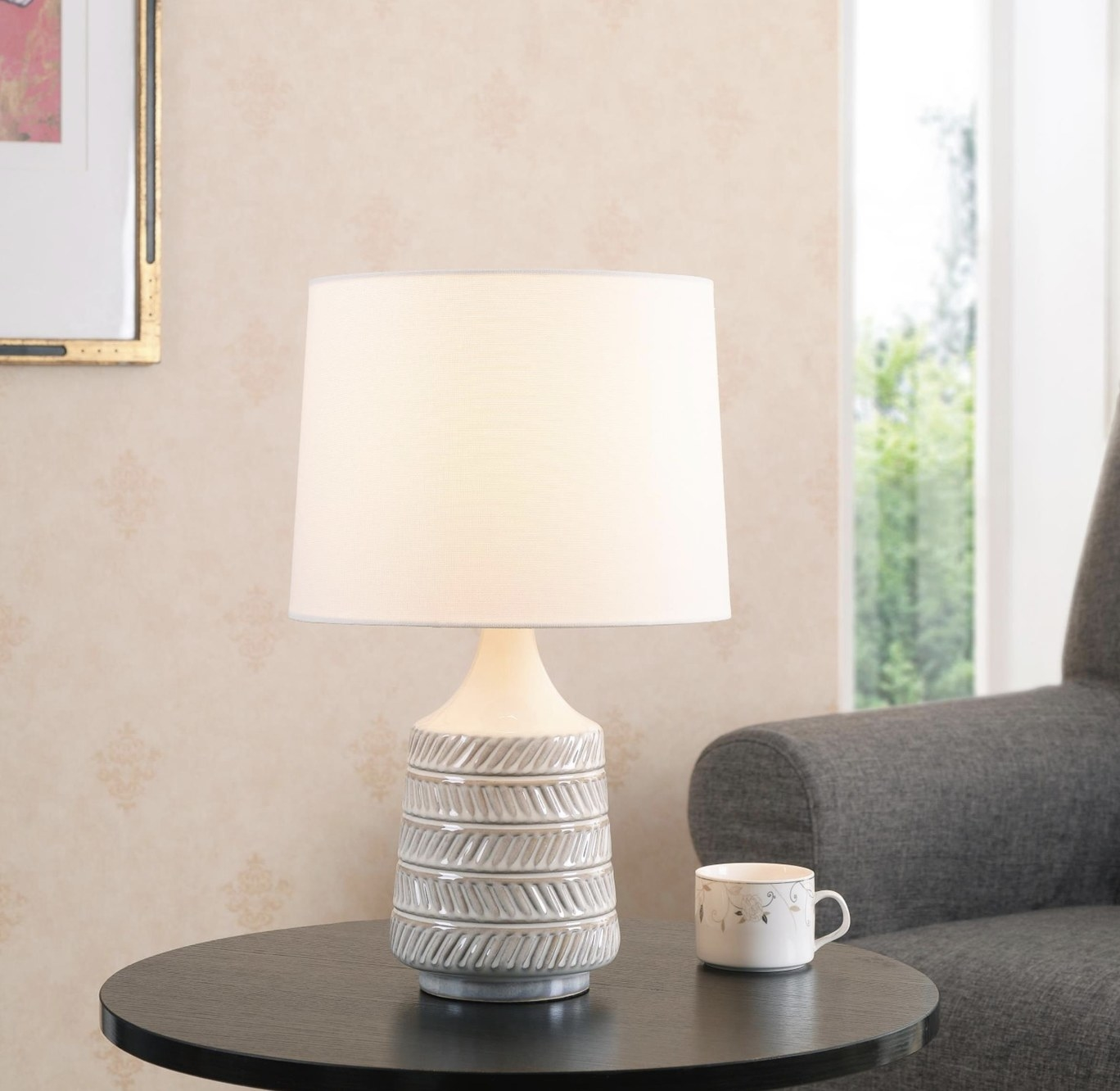 A white textured table lamp