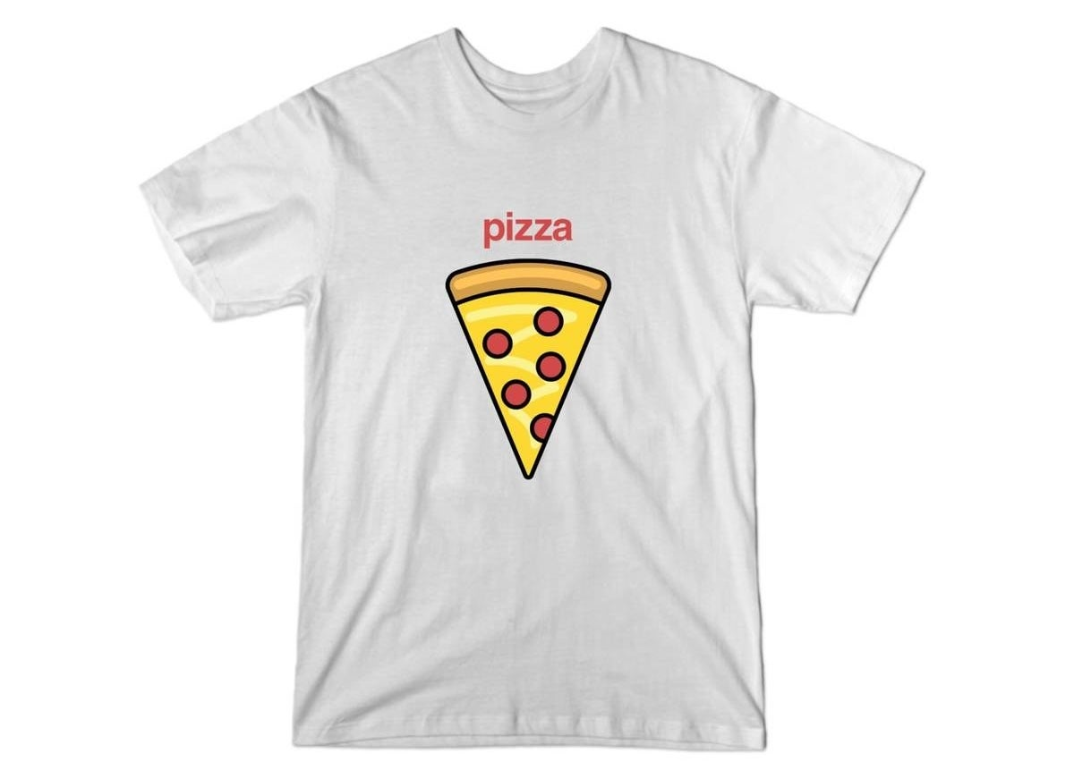 """the white tee featuring an illustration of pepperoni pizza and text that reads """"pizza"""" in red"""