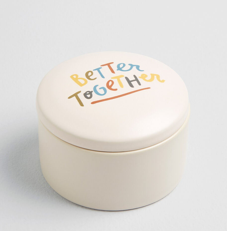 """Round, lidded dish with painted words that say """"Better Together"""""""