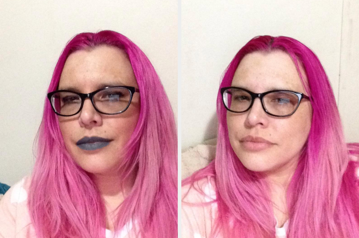 A reviewer with eye make up and gray lipstick in a before shot, with their face clear of makeup after