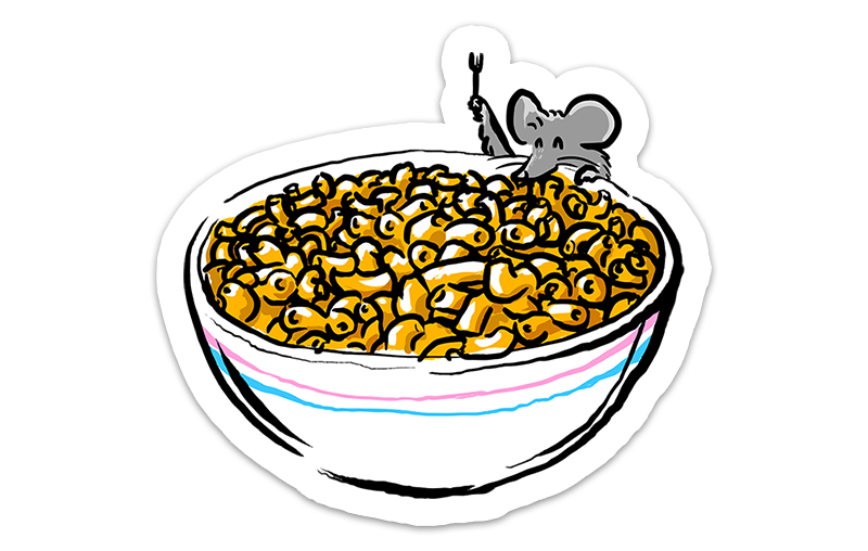 the sticker illustration of a mouse holding a fork while hanging over a bowl of mac and cheese