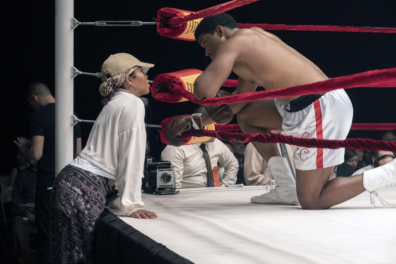 ONE NIGHT IN MIAMI, from left: director Regina King, Eli Goree, on set