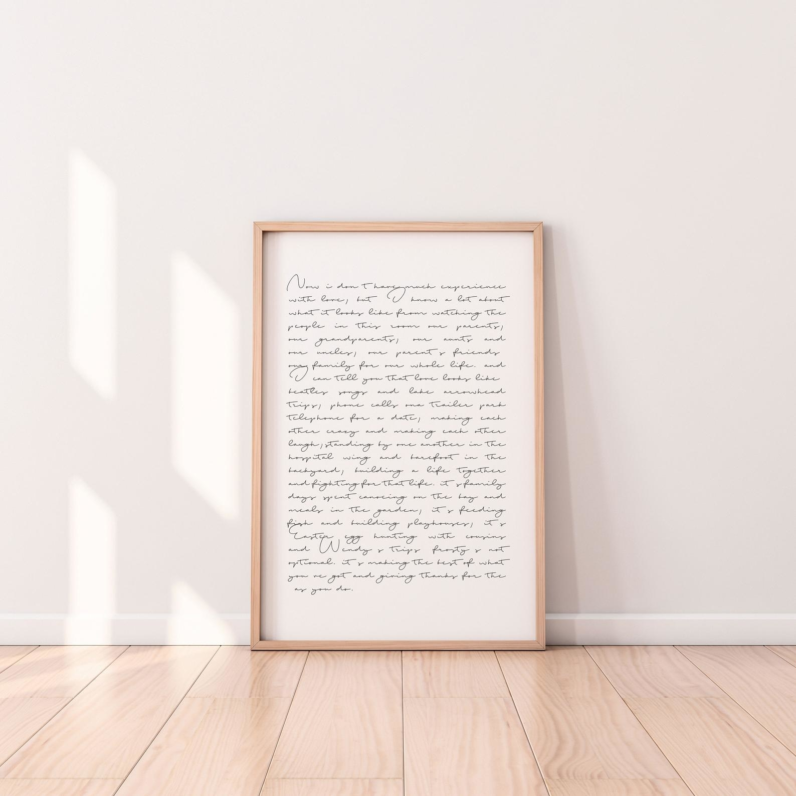 White canvas framed in wood