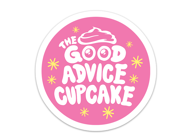 the pink sticker with the good advice cupcake logo and yellow twinkling stars
