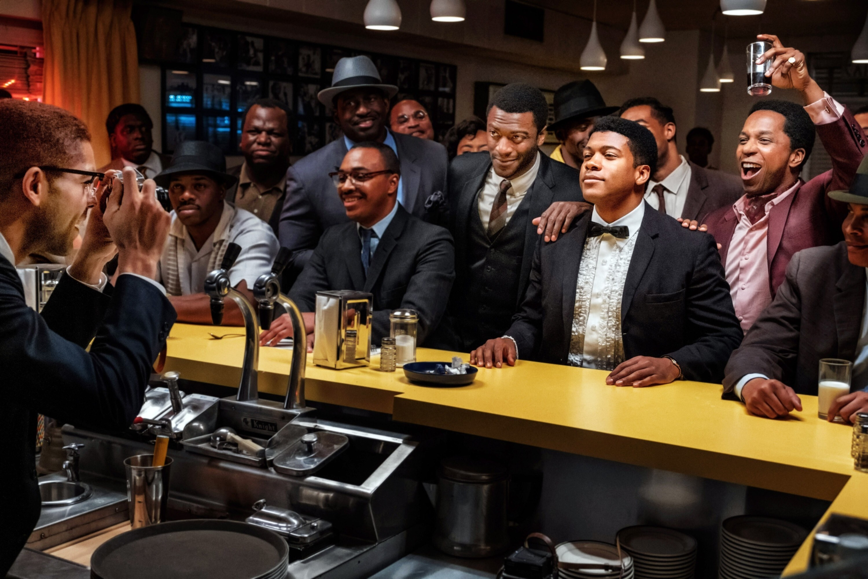 ONE NIGHT IN MIAMI, beginning at center from left: Aldis Hodge as Jim Brown, Eli Goree as Cassius Clay, and Leslie Odom Jr. as Sam Cooke