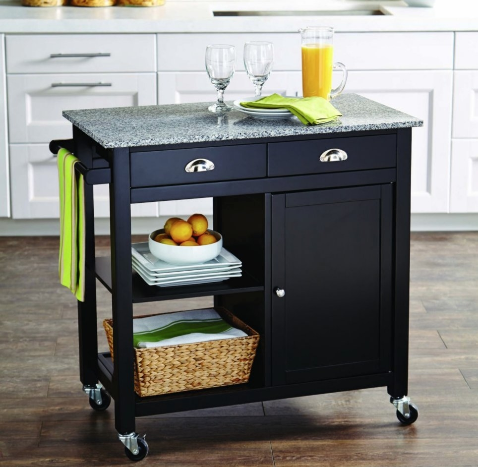 Black kitchen cart with shelves, cabinet, drawers and gray granite top