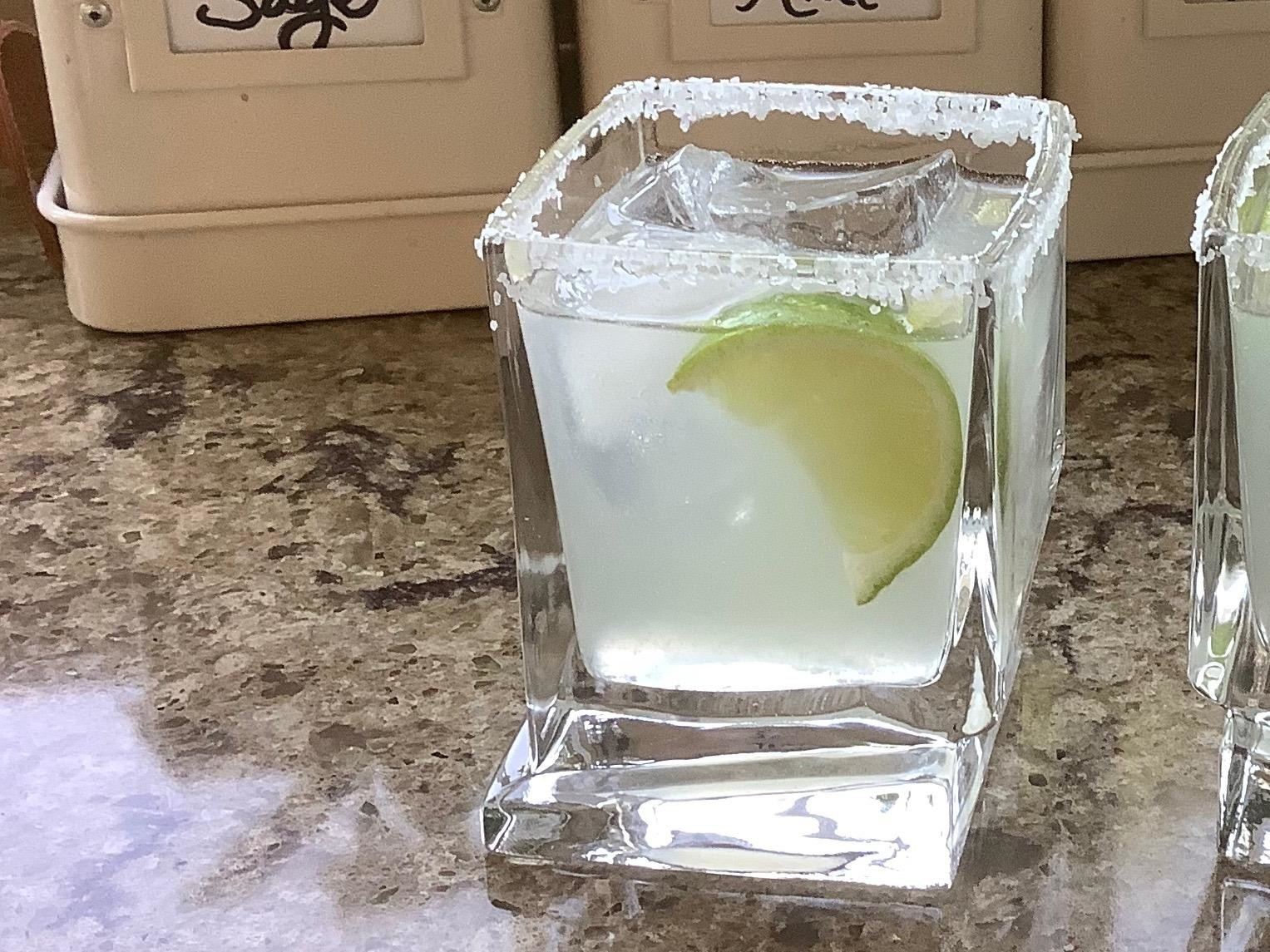 a single glass with a modern design
