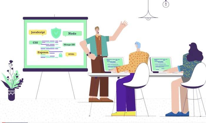animation of a teacher teaching web development off a projector