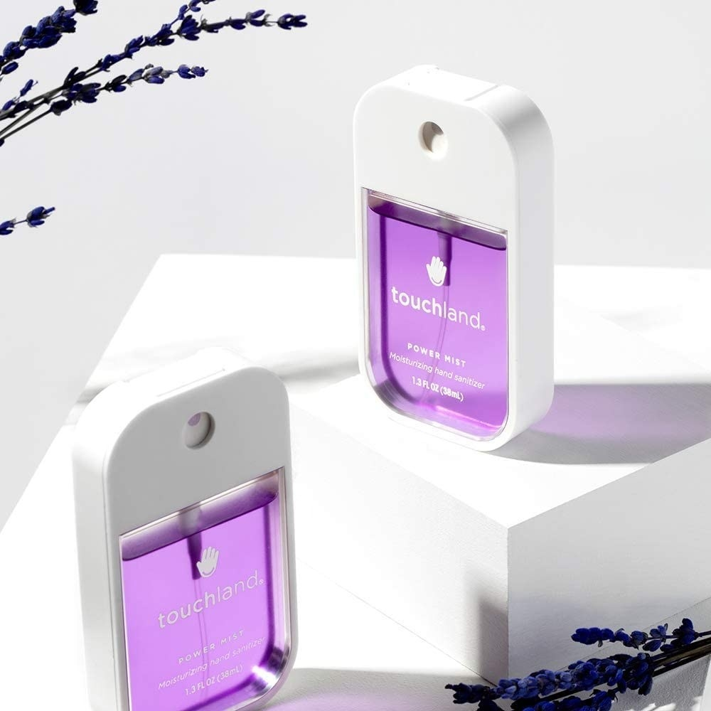 The lavender hand sanitizing mist which is roughly the size of a smartphone
