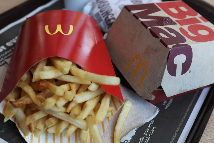 McDonald's Big Mac and French fries are seen on a tray