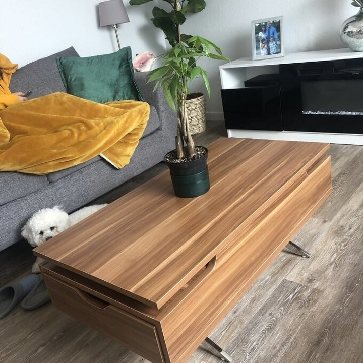 Reviewer's picture of the desk closed to be a regular coffee table
