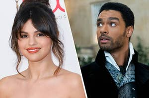 Selena Gomez on the red carpet and and Regé-Jean Page in Bridgerton