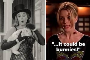 """Wanda holding a bunny in """"Wandavision"""" and Anya on Buffy the Vampire Slayer singing """"It could be bunnies!"""""""