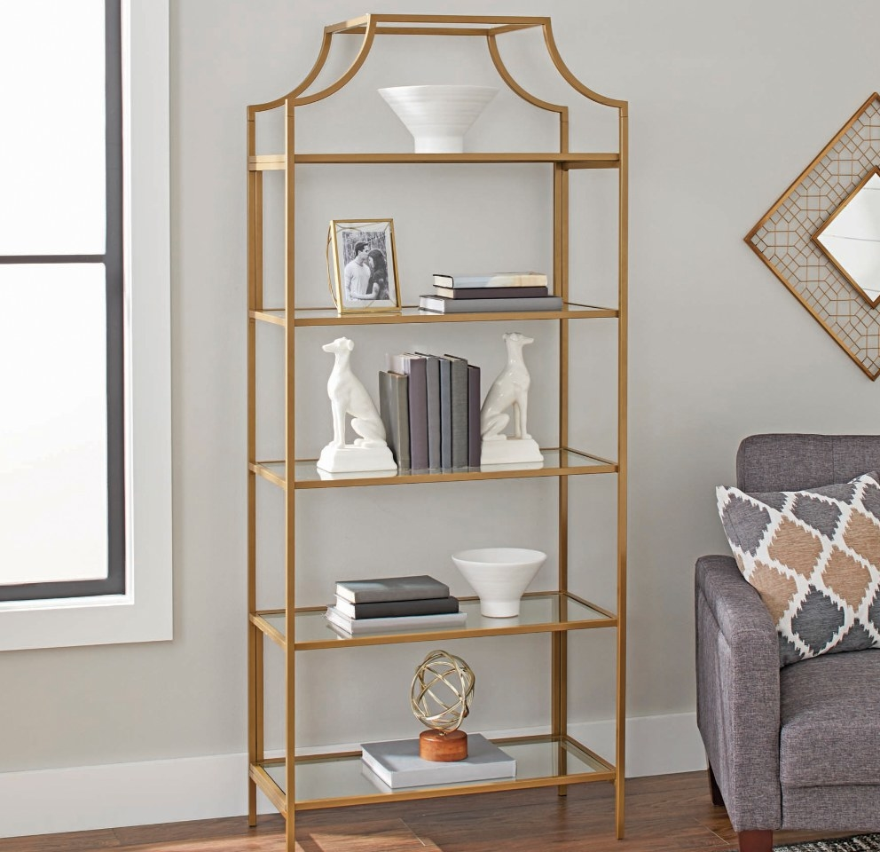 Gold 5 tier book case with glass shelves