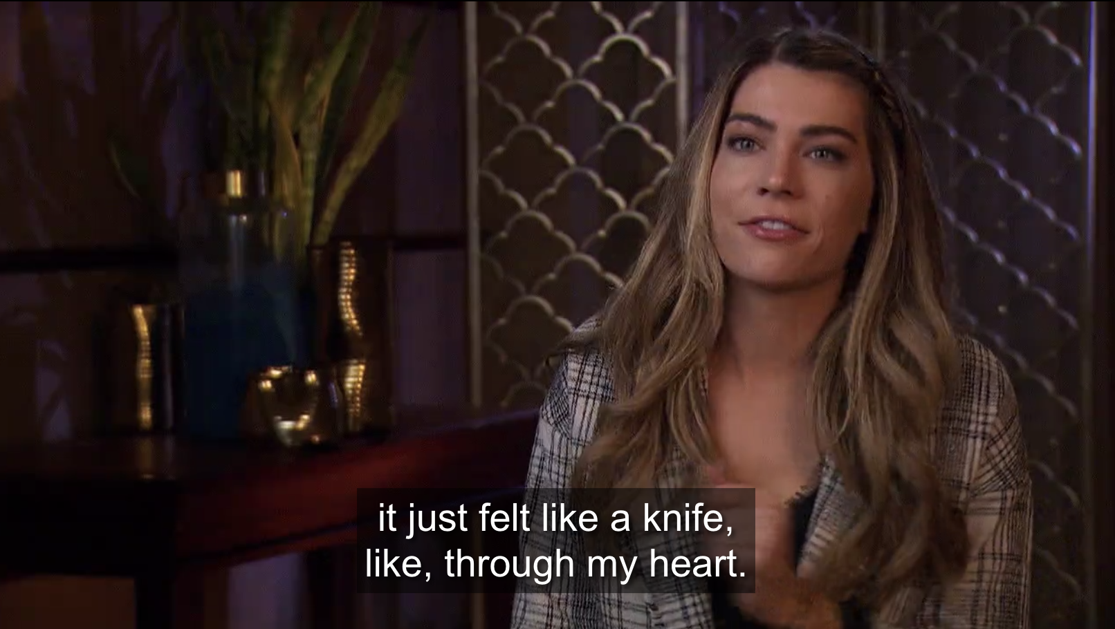 """Sarah talking about her relationship with Matt, saying """"it just felt like a knife, like, through my heart"""""""