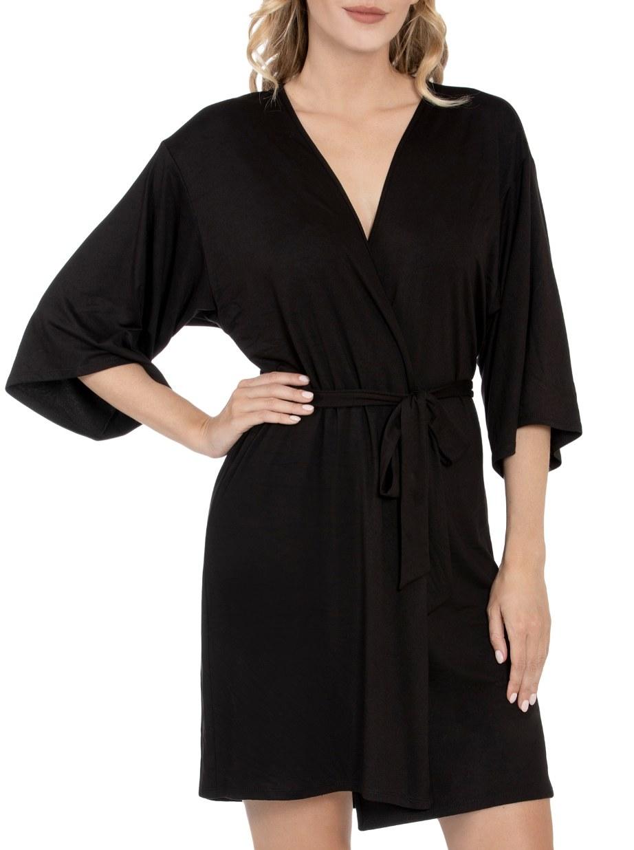 Model is wearing a black rober