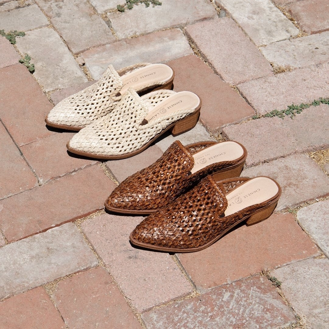 The woven mules in white and brown