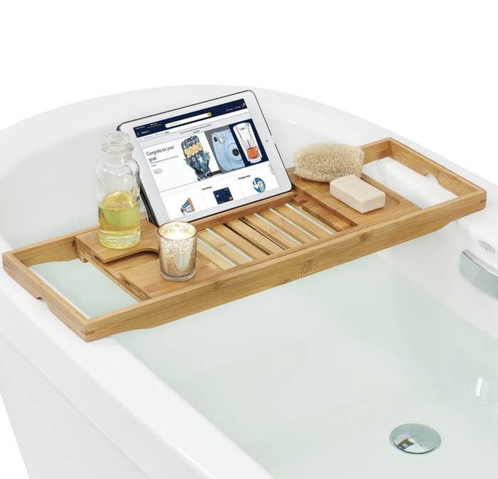A bathroom caddy tray
