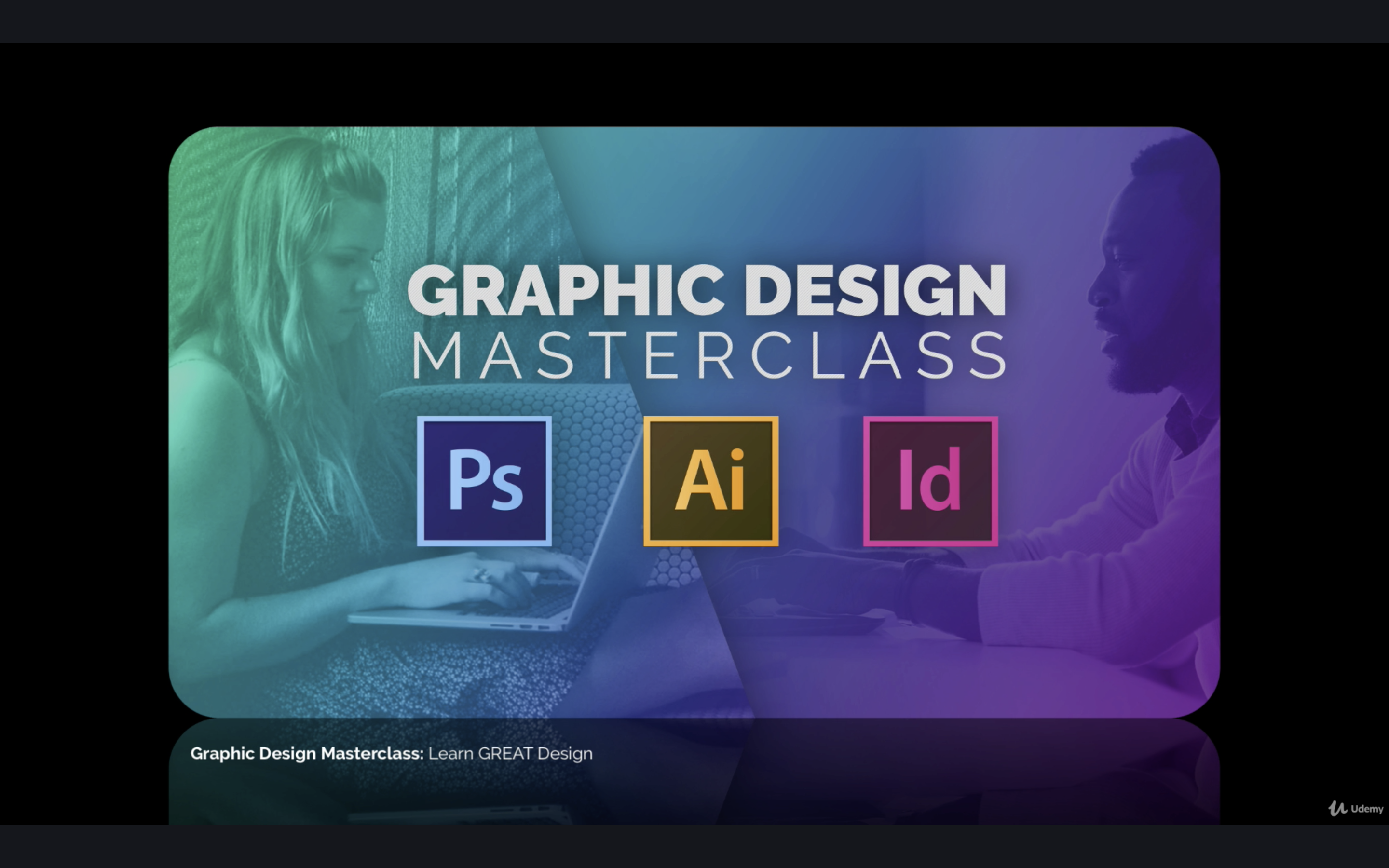 a graphic with the photoship, adobe illustrator, and indesign logos