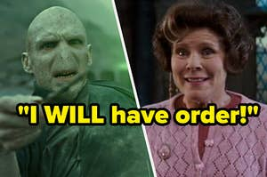 "Voldermort on the left and umbridge on the right with the quote ""i will have order"" over them"