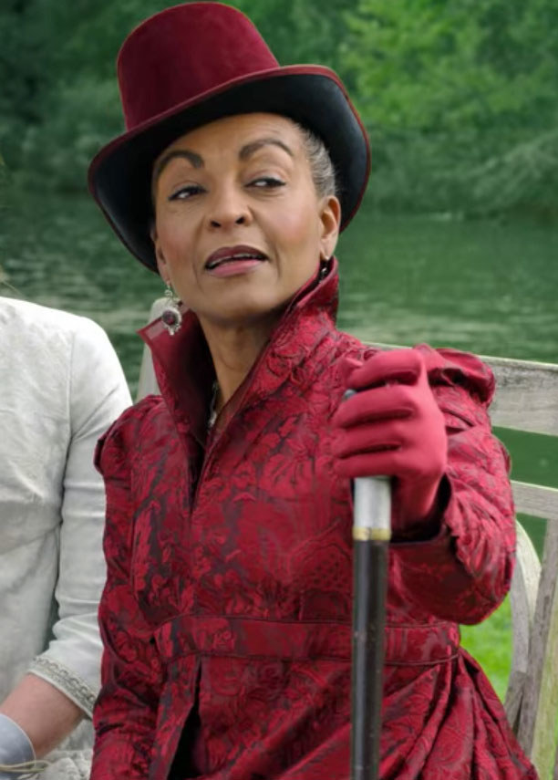 Lady Danbury wears a red coat and matching hat