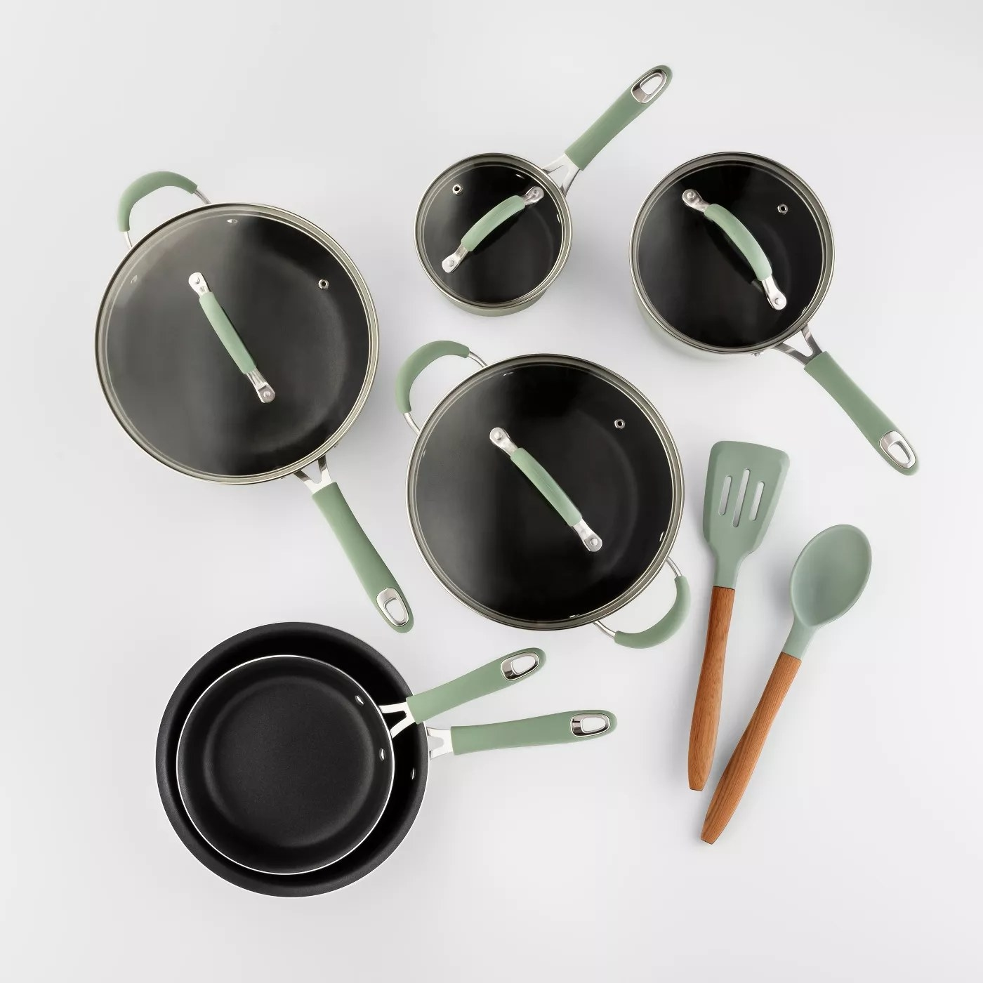 The cookware and kitchen tools in green
