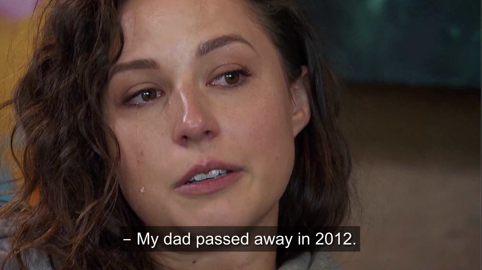 Katie talking to Sarah about her deceased father