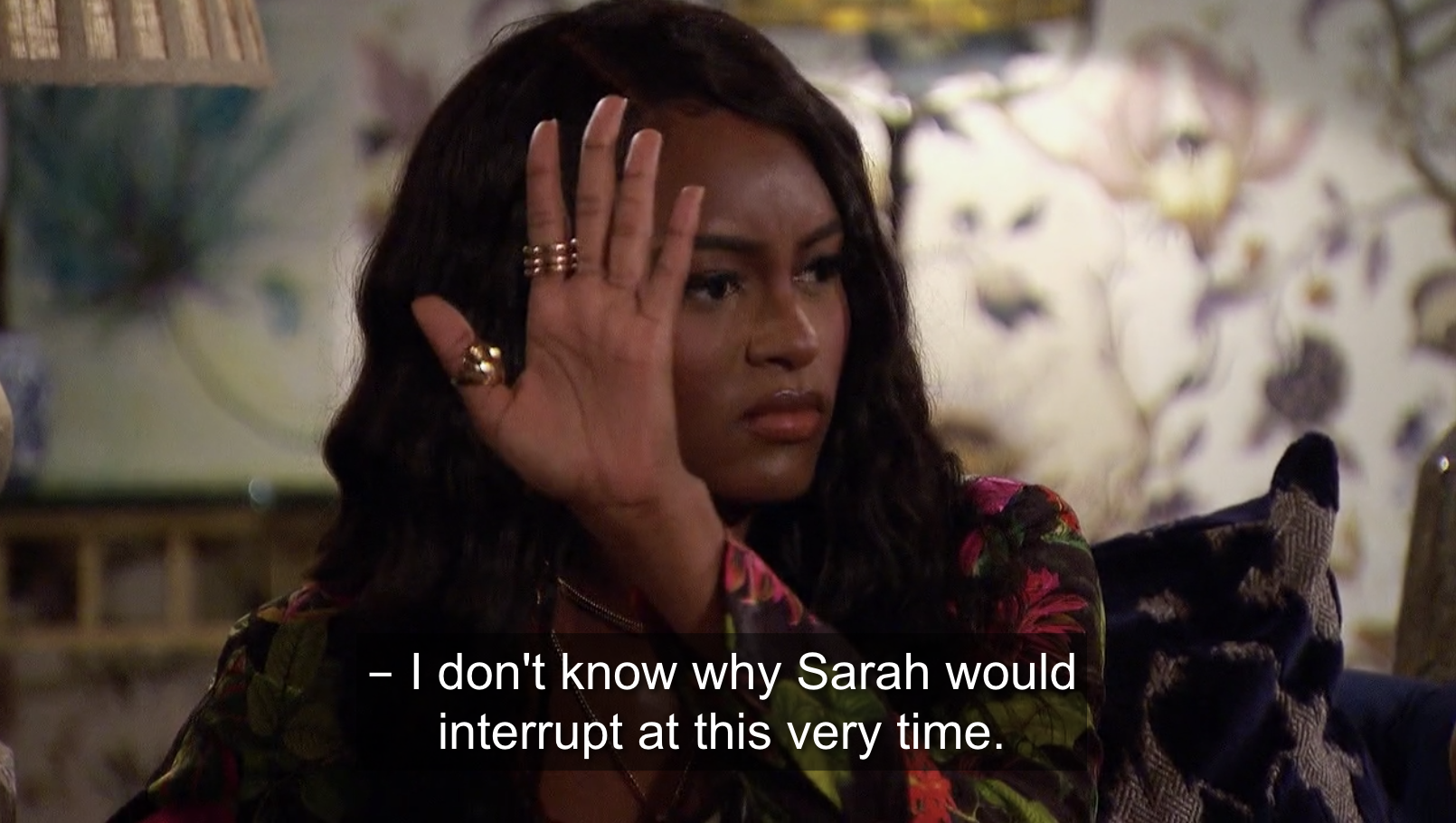 Khayla looking upset at Sarah's interruption