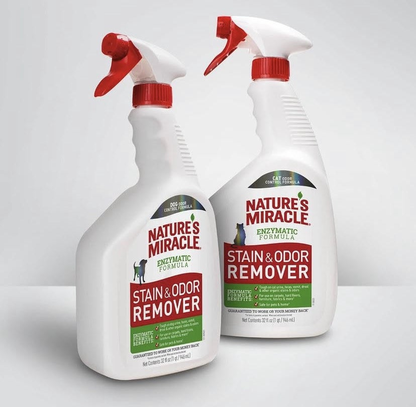 The spray bottle of stain remover