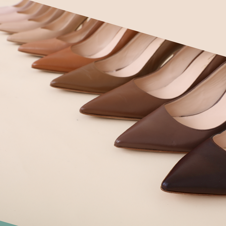 the nine different nude colored heels in a line