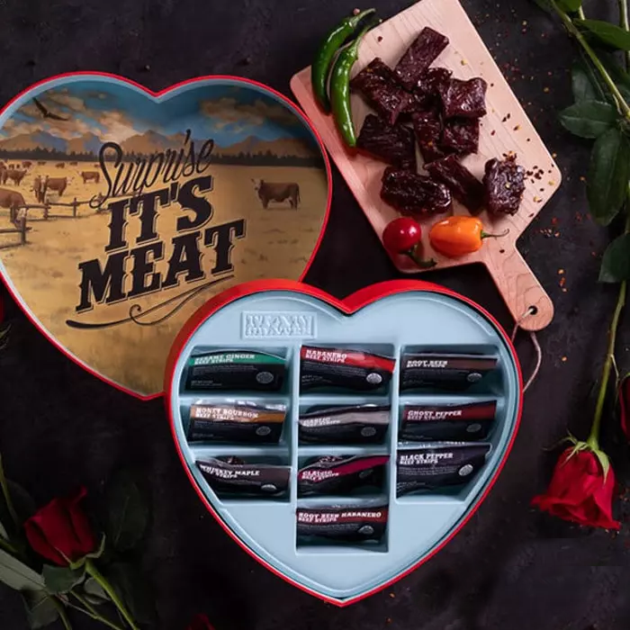 heart shaped box with individually packaged jerky