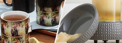 A split thumbnail of mugs and a candle warmer