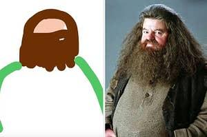 A crude drawing of Hagrid next to the real thing
