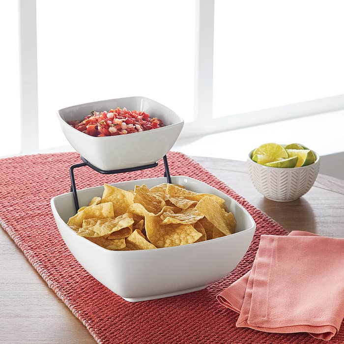 The chip and dip set on a table