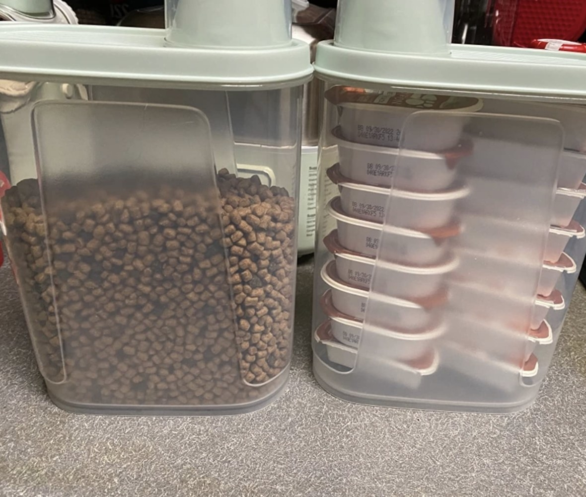 Reviewer photo of the containers with dog food inside of them
