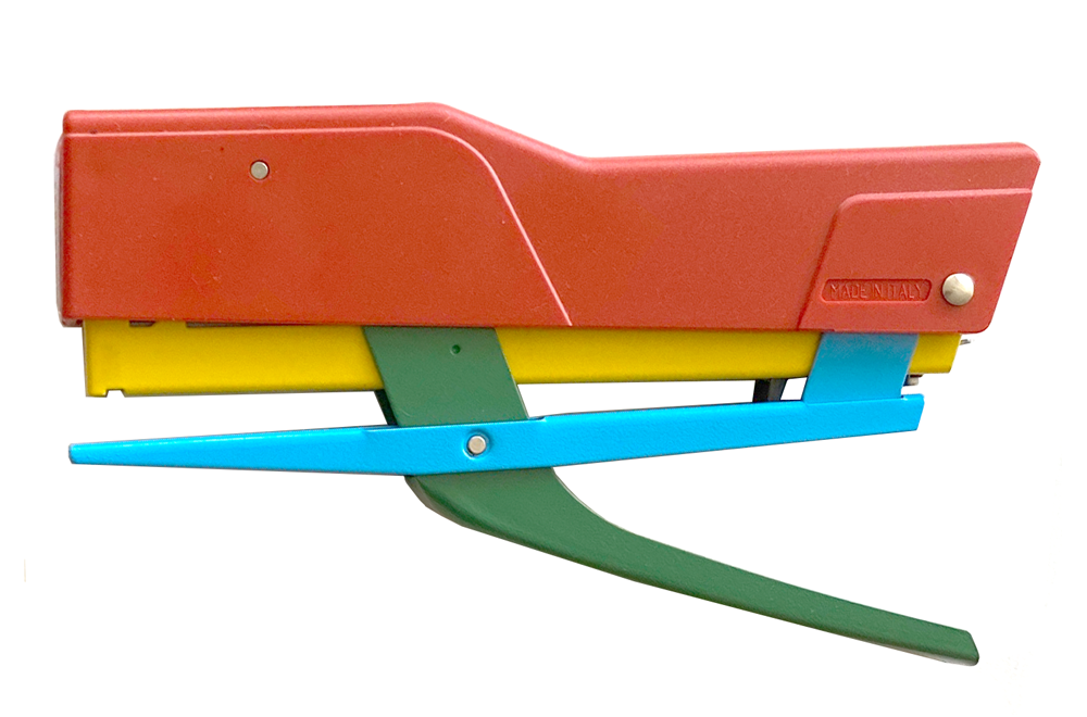 The red, yellow, blue, and green stapler