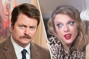 Ron Swanson being stoic next to Taylor Swift being emotional