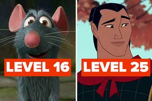 """Remy labeled """"Level 16"""" and Li Shang labeled """"Level 25"""""""