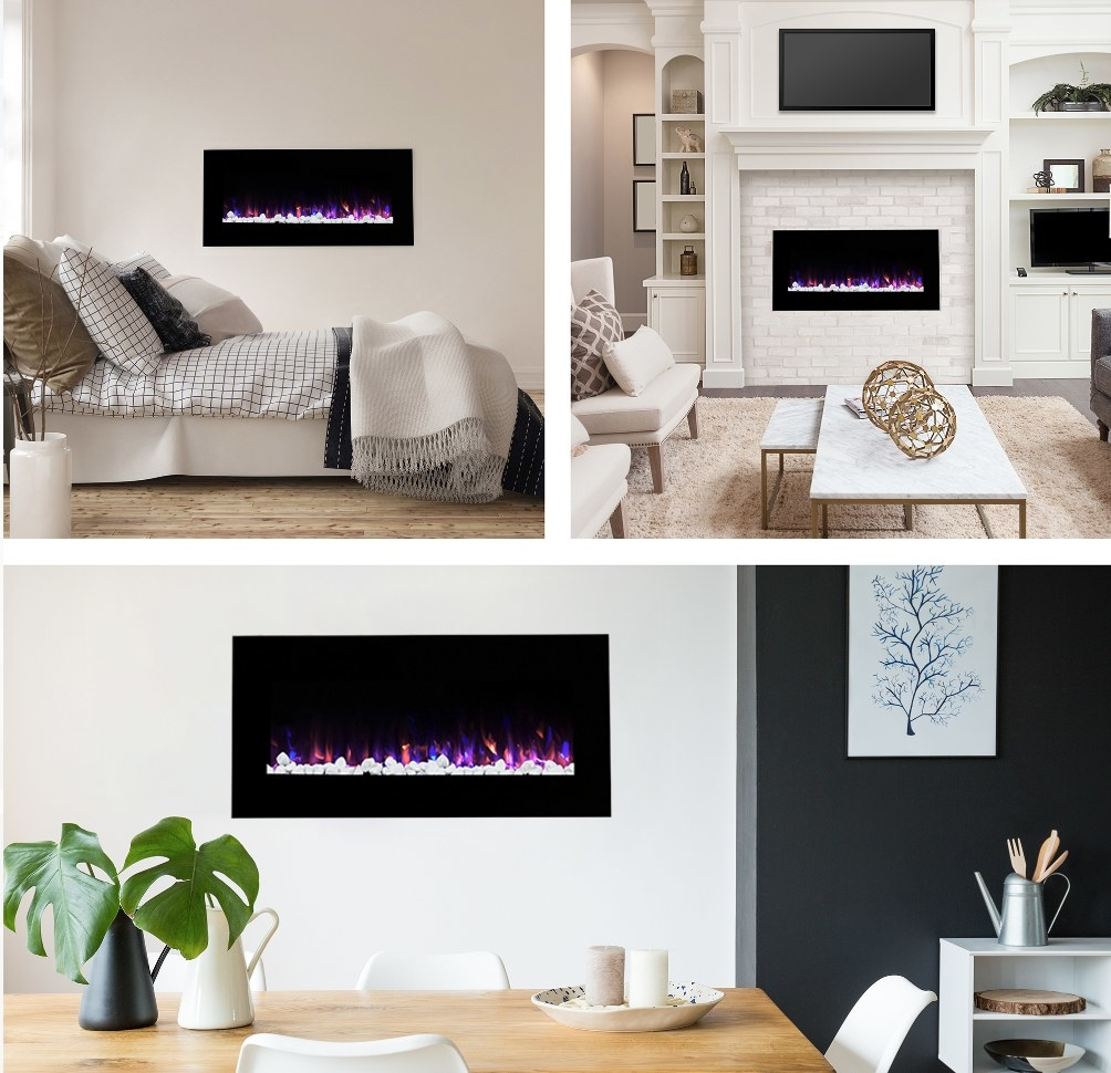 Wall mounted electric fireplace in bedroom, living room, kitchen