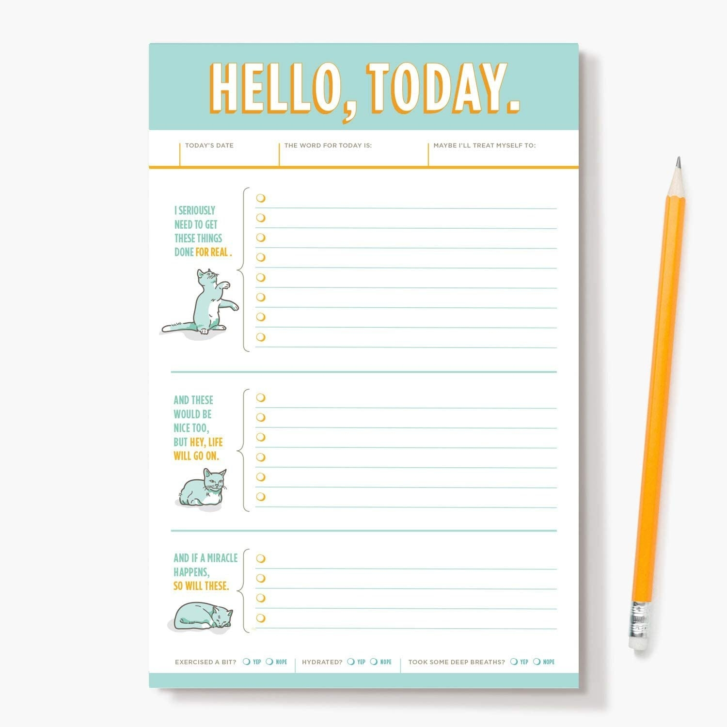 The daily planner which has three cat-themed sections