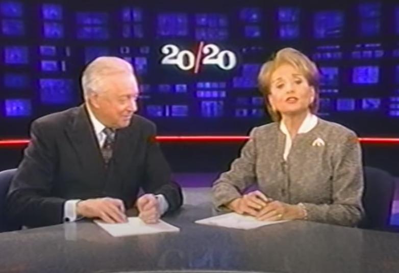 Hugh Downs and Barbara Walters sitting at the 20/20 news desk